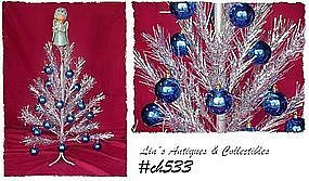 3 FT. ALUMINUM CHRISTMAS TREE WITH BLUE DECORATIONS