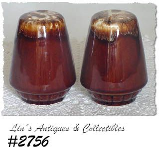 McCOY POTTERY -- BROWN DRIP SALT AND PEPPER TALLER SIZE SHAKER SET