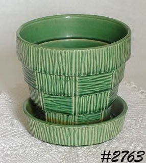 McCOY POTTERY GREEN BASKET WEAVE 5 INCH TALL FLOWERPOT
