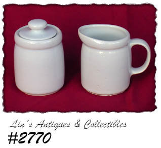 McCOY POTTERY -- CREAMER AND SUGAR WITH LID ALL WHITE NO DESIGNS
