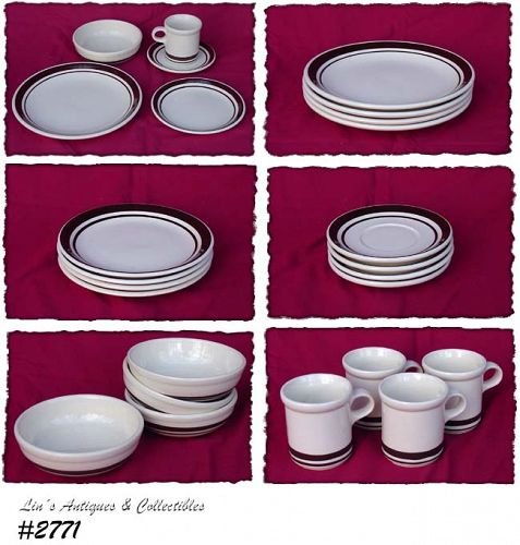 McCOY POTTERY -- STONECRAFT BROWN STRIPE SERVICE FOR 4