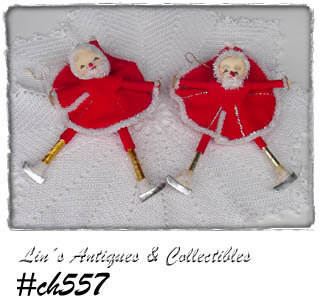 VINTAGE SET OF 2 SKATING SANTA ORNAMENTS