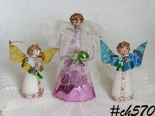 VINTAGE ANGEL TREE TOPPER AND 2 VINTAGE ANGEL ORNAMENTS