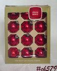 1 DOZEN RED VINTAGE SHINY BRITE ORNAMENTS IN ORIGINAL BOX