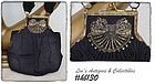 VINTAGE BLACK CLOTH HANDBAG WITH DECORATIVE ORNAMENTATION