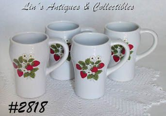 McCOY POTTERY -- STRAWBERRY COUNTRY TALL MUGS (4)