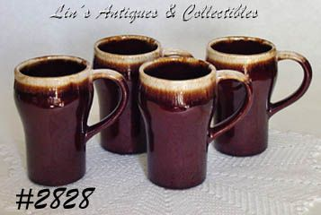 McCOY POTTERY -- BROWN DRIP TALL MUGS (4)