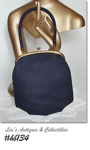 VINTAGE NAVY BLUE CLOTH HANDBAG BY INGBER
