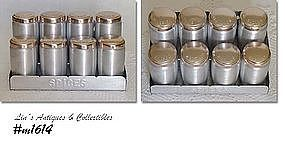 ALUMINUMWARE -- VINTAGE KROMEX SPICE SET WITH STORAGE RACK
