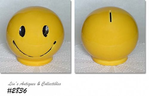 McCOY POTTERY -- SUNNY YELLOW SMILE (HAPPY) FACE BANK