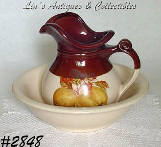 McCOY POTTERY FRUIT FESTIVAL VINTAGE PITCHER AND BOWL SET