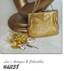 VINTAGE CHRISTMAS CORSAGE AND VINTAGE GOLD COLOR BEADED HANDBAG