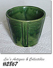 "McCOY POTTERY -- 3 5/8"" TALL DARK GREEN JARDINIERE"
