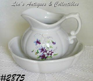 McCOY POTTERY WILD VIOLETS VINTAGE PITCHER AND BOWL