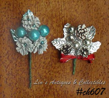 LOT OF TWO VINTAGE CHRISTMAS CORSAGES WITH SILVER LEAVES AND MORE