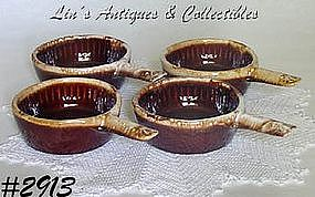 McCOY POTTERY -- BROWN DRIP CASSEROLES (4)