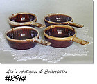 McCOY POTTERY -- SET OF 4 BROWN DRIP INDIVIDUAL SIZE CASSEROLES