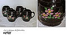 McCOY POTTERY -- BARREL MUGS, BLACK WITH FLOWERS