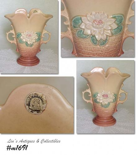 "HULL POTTERY VINTAGE 9"" TALL WATER LILY VASE WITH ORIGINAL STICKER"