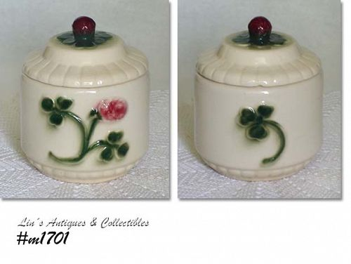 BRUSH POTTERY VINTAGE RED CLOVER UTILITY JAR