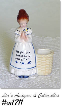 VINTAGE ENESCO PRAYER LADY WHITE DRESS TOOTHPICK HOLDER