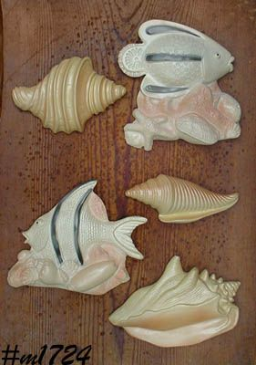 MILLER STUDIOS -- 2 CHALKWARE FISH AND 3 CHALKWARE SEA SHELLS
