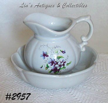 McCOY POTTERY WILD VIOLETS VINTAGE PITCHER AND BOWL Set