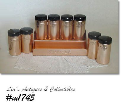 VINTAGE ALUMINUM SPICE SHAKERS SET WITH STORAGE RACK MADE IN ITALY