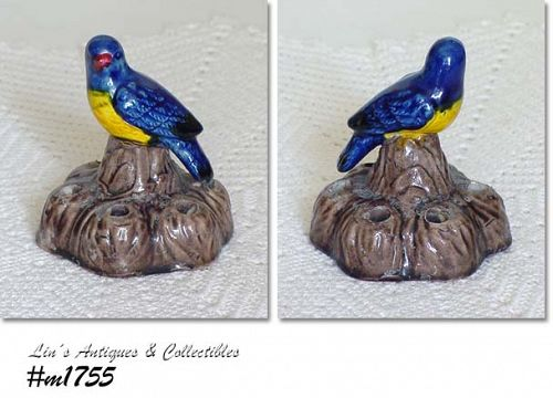 BRUSH POTTERY -- BOOK PIECE VINTAGE BLUE BIRD FLOWER FROG
