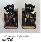VINTAGE PAIR OF BLACK CATS BOOKENDS