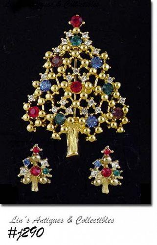 Eisenberg Ice Christmas Tree and Earrings Multi Color Rhinestones