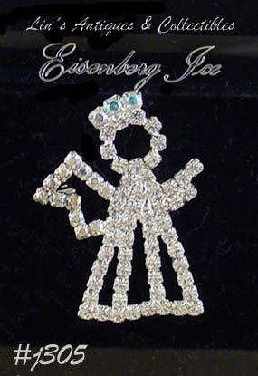 EISENBERG ICE CLEAR AND AURORA BOREALIS RHINESTONES VINTAGE ANGEL PIN