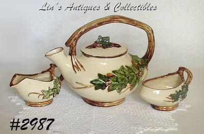 McCOY POTTERY VINTAGE IVY TEA SET TEAPOT CREAMER AND SUGAR
