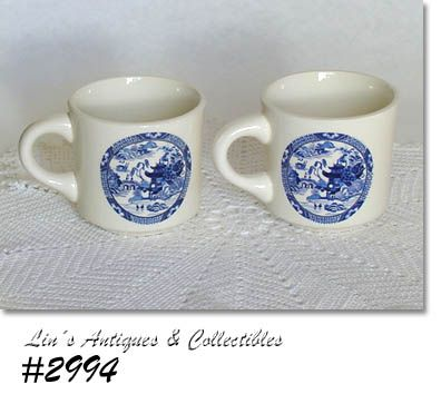 McCOY POTTERY -- BLUE WILLOW CUPS (2)