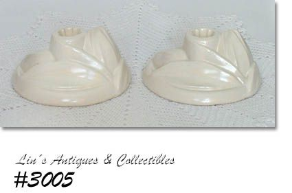 McCOY POTTERY MATTE WHITE LILY BUD LINE VINTAGE CANDLE HOLDERS