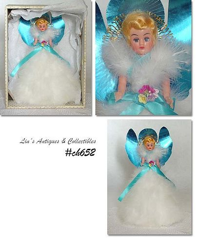 VINTAGE FEATHER ANGEL (DOLL) TREE TOPPER