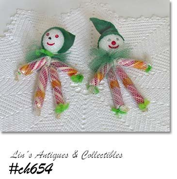 SET OF 2 VINTAGE PEPPERMINT STICK ELVES ORNAMENTS