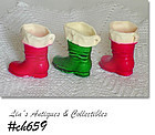 3 VINTAGE WAX BOOT ORNAMENTS CANDY CONTAINERS