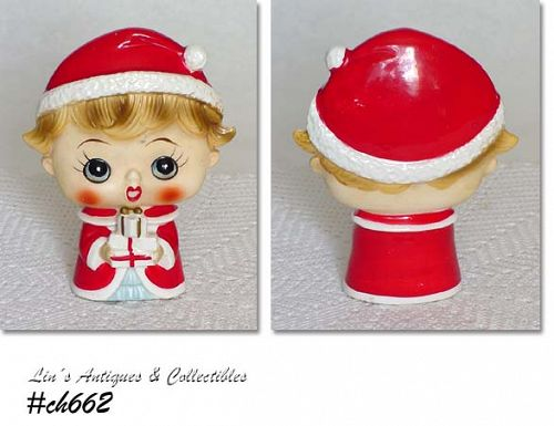 HOLT HOWARD BIG EYED CHRISTMAS GIRL FIGURINE