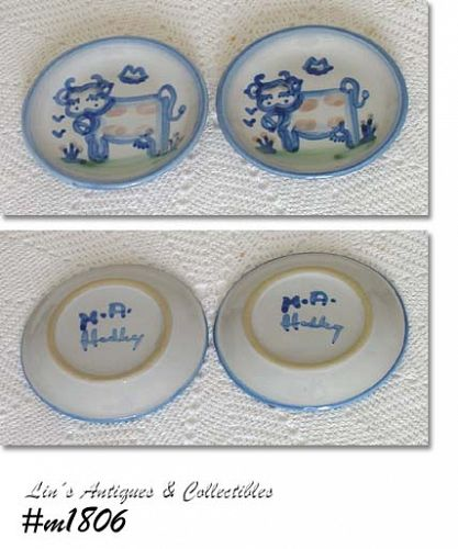 LOUISVILLE STONEWARE M.A. HADLEY 2 COW LITTLE PLATES SAUCERS