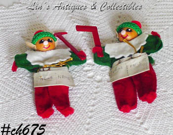 VINTAGE PAIR OF SANTA'S CHRISTMAS ELVES (HELPERS)