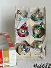 6 FANCY VINTAGE COBY ORNAMENTS WITH ORIGINAL BOX