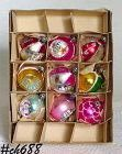 9 VINTAGE POLAND GLASS CHRISTMAS ORNAMENTS IN ORIGINAL BOX