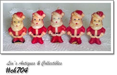 GURLEY CANDLES -- 5 SMALL VINTAGE SANTAS