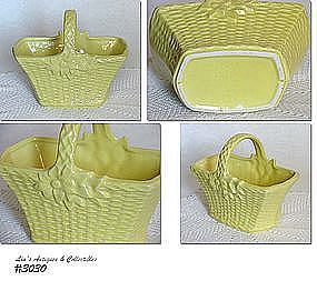 McCOY POTTERY -- YELLOW BASKET PLANTER