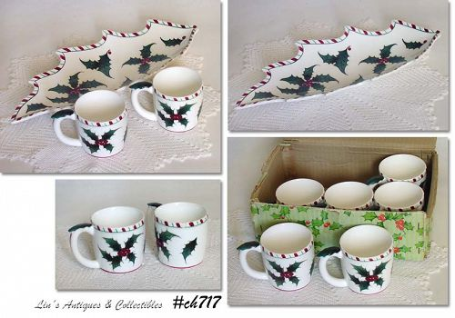 LEFTON CHINA VINTAGE CHRISTMAS HOLLY TRAY AND 6 CUPS IN ORIGINAL BOX