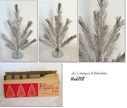 2 FT. VINTAGE TREASURE PINE ALUMINUM CHRISTMAS TREE IN BOX