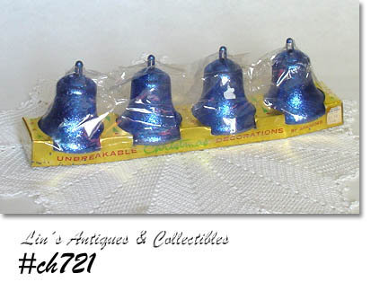 4 VINTAGE BRADFORD GLITTERY BELL ORNAMENTS IN ORIGINAL PACKAGE