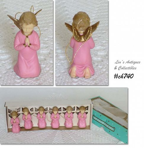 SET OF 6 VINTAGE PRAYING ANGEL ORNAMENTS IN ORIGINAL BOX