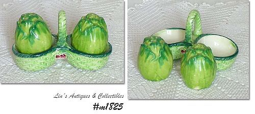 VINTAGE OCCUPIED JAPAN CABBAGE SHAPED SHAKER SET IN HOLDER